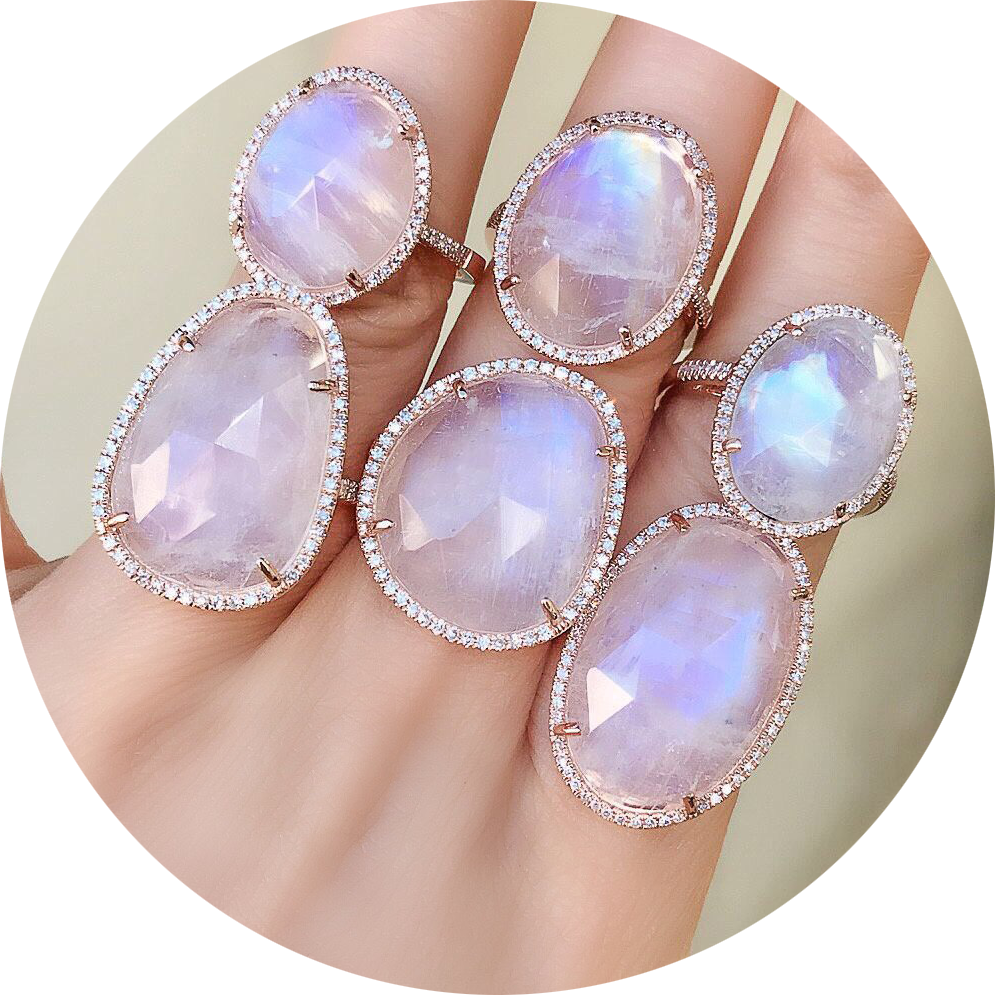 rainbow moonstone rings are striking and dramatic