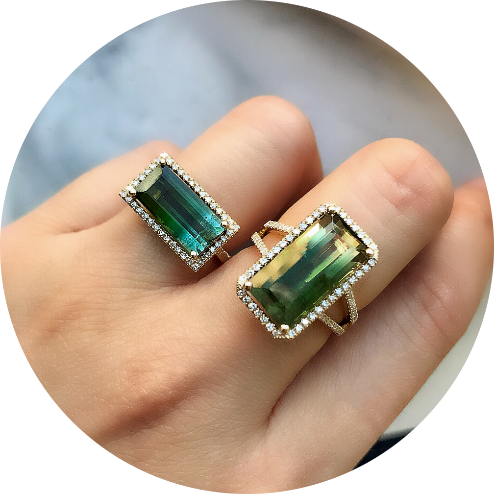 tourmaline rings on hand