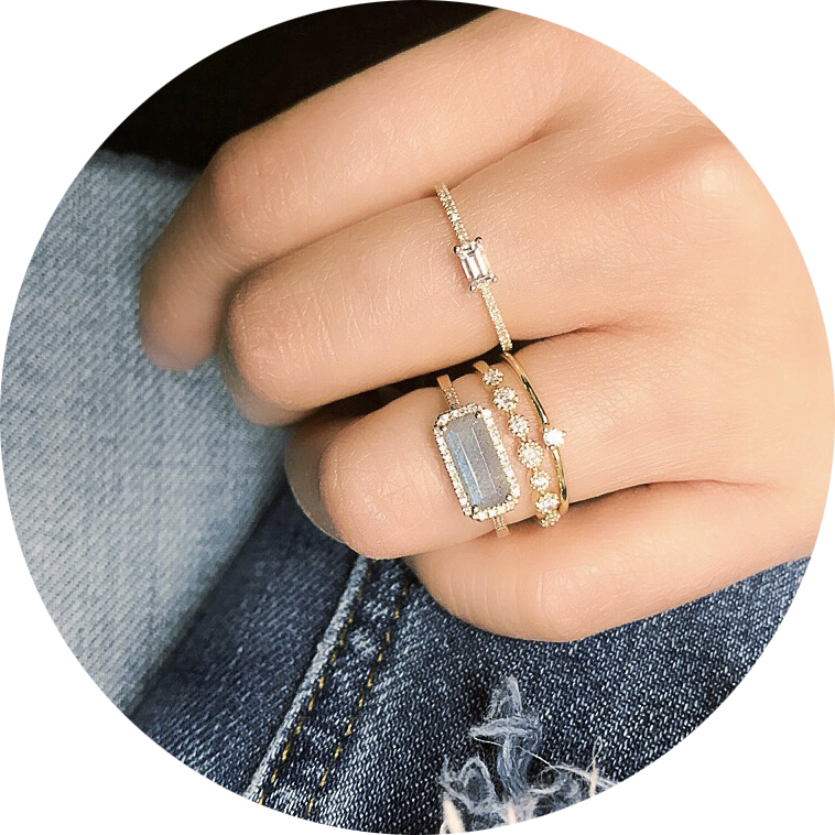east west labradorite ring, stacked with other liven bands