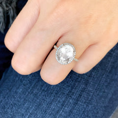 white topaz oval ring