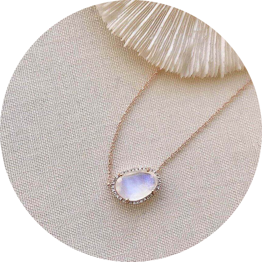 one of a kind rainbow moonstone necklace in rose gold with diamonds