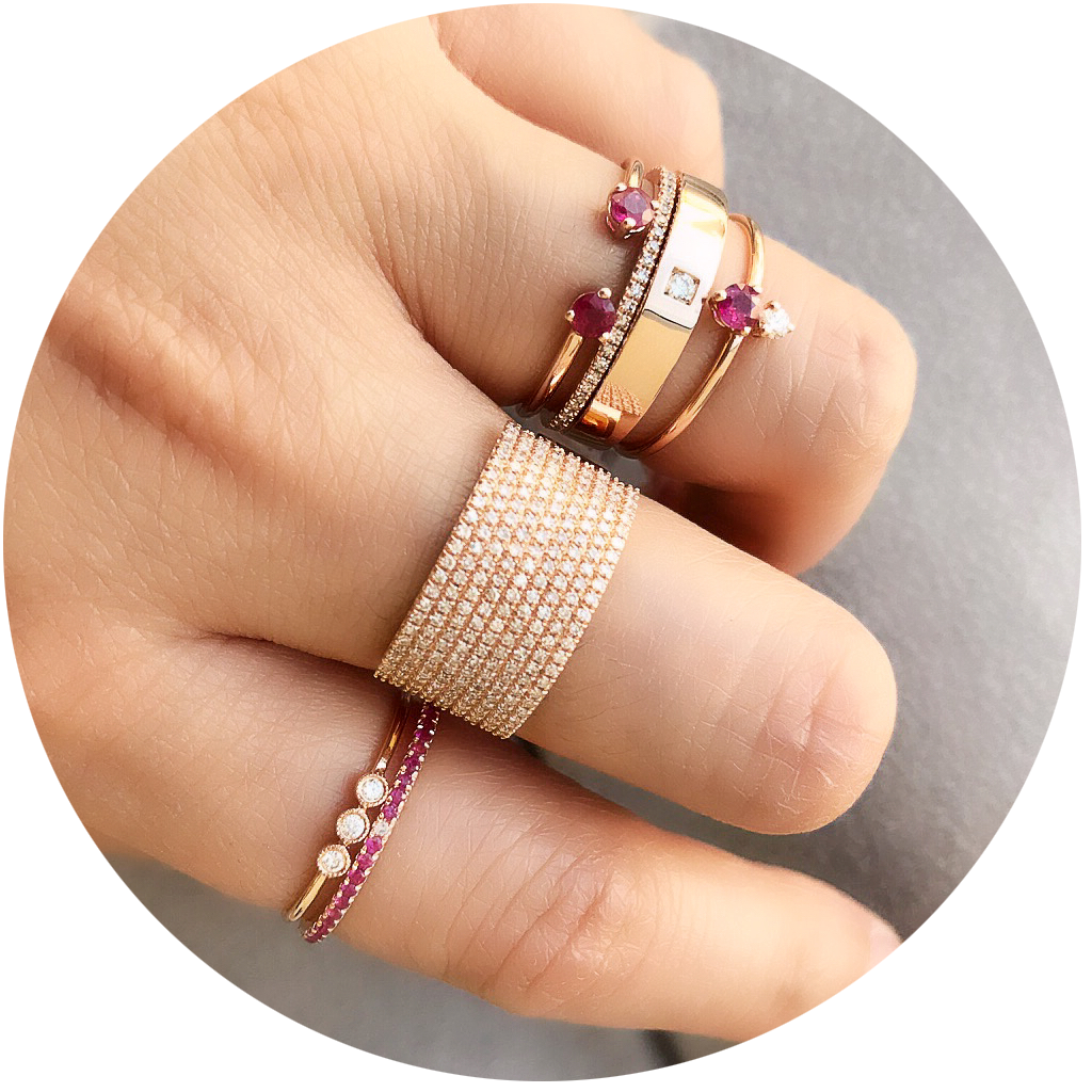 selection of rings with rubies from liven