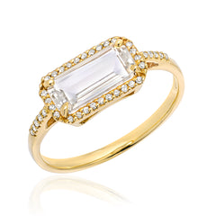 East-West White Topaz Ring