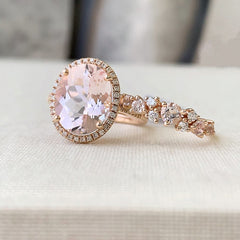 One of a Kind Oval Blush Morganite Ring