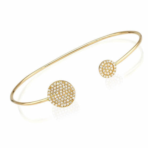 double round pave cuff with diamonds in yellow gold