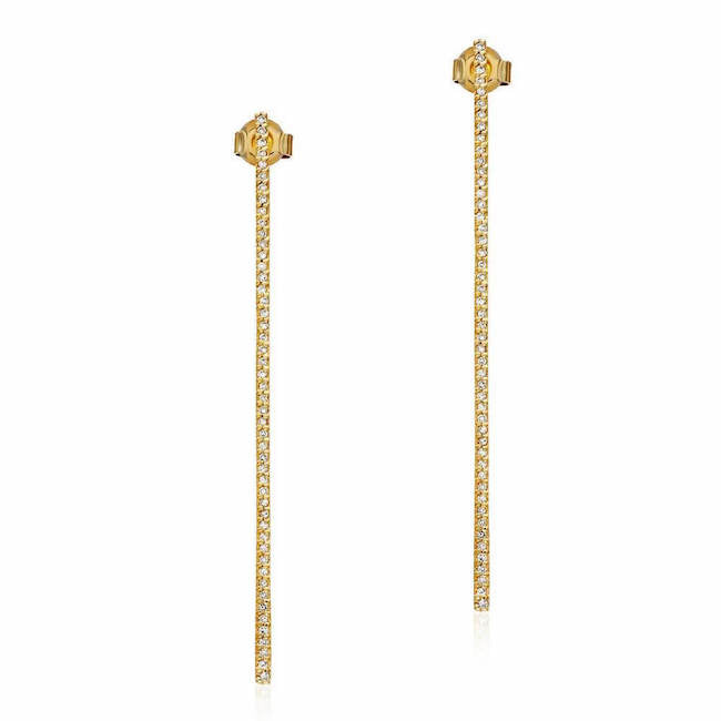 long stick earrings with diamonds in yellow gold