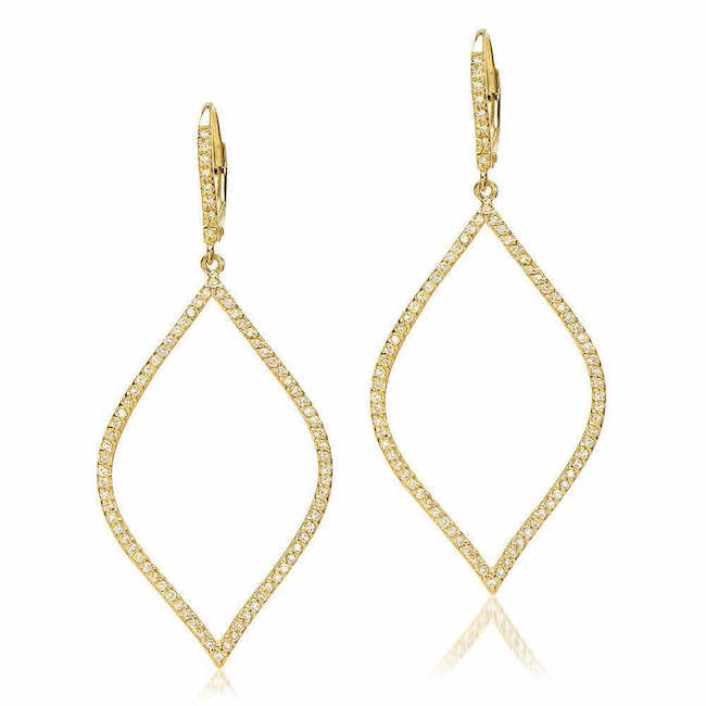 open marquise drop earrings with diamonds in yellow gold