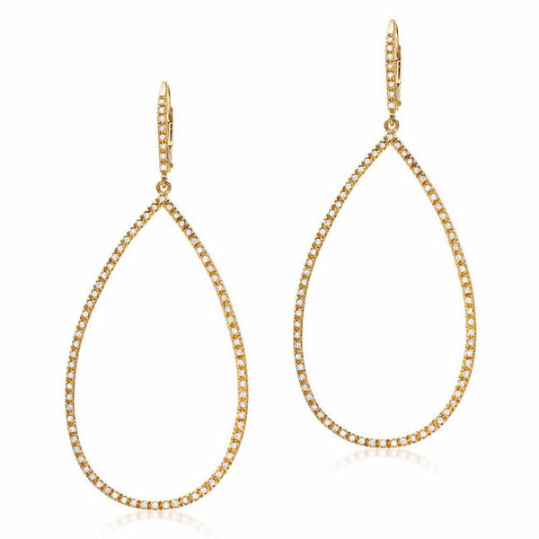 Open Teardrop Earrings in Yellow Gold