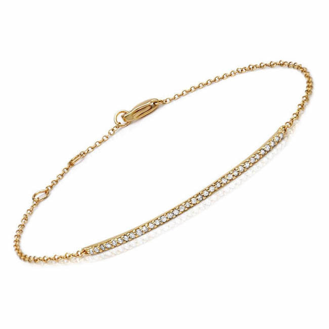 bar bracelet with diamonds in yellow gold