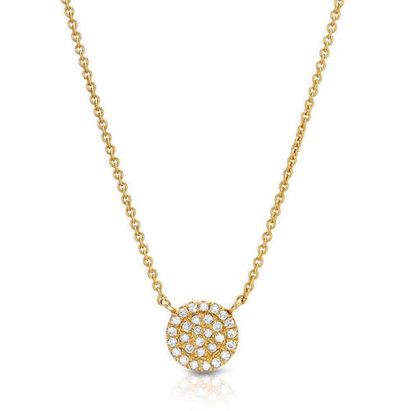 small pave disc necklace in yellow gold