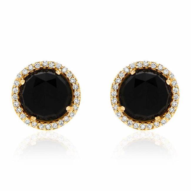 Rosie 7.0mm Black Onyx & Diamond Post Earrings in Yellow Gold
