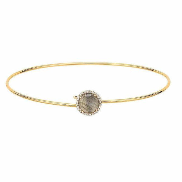 labradorite and diamond rosie bangle in yellow gold