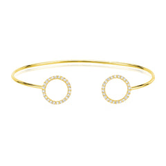 double open circle cuff with diamonds in 14k yellow gold