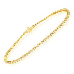 small diamond tennis bracelet in 14k yellow gold