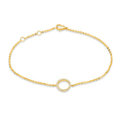 open circle diamond bracelet in yellow gold