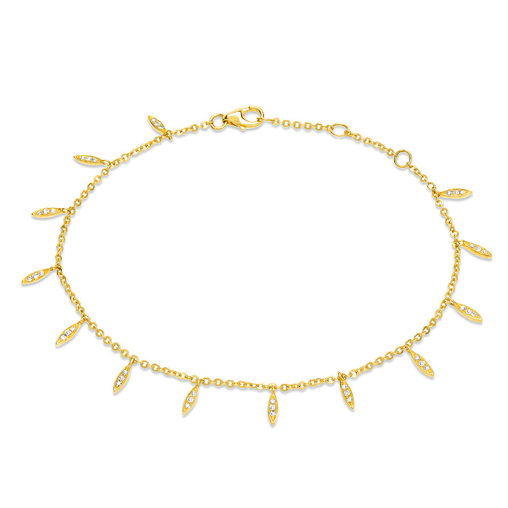 willow leaf bracelet with diamonds in yellow gold