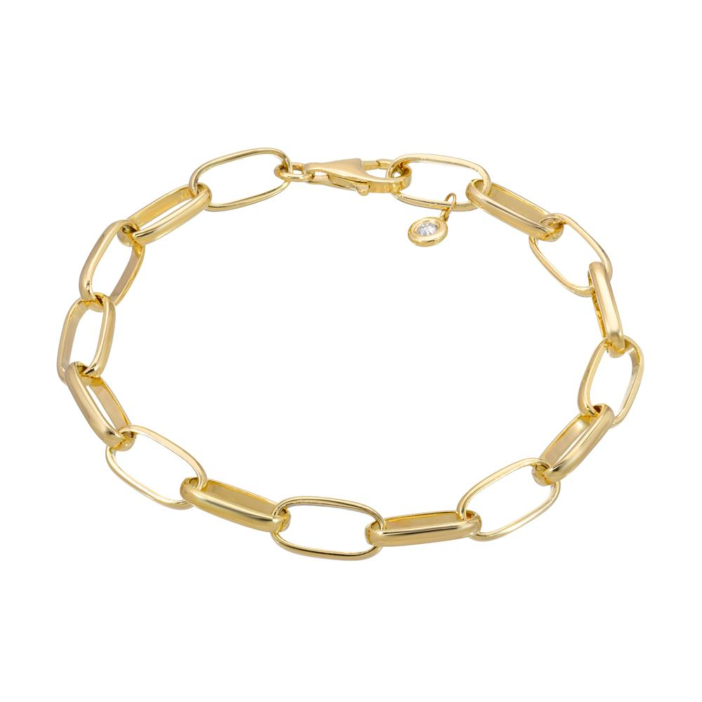 hand made chain bracelet with large links in 14k yellow gold