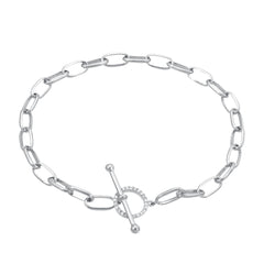 hand made chain bracelet with toggle closure in 14k white gold