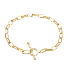hand made chain bracelet with toggle closure in 14k yellow gold
