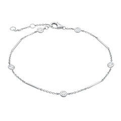 Unity Chain bracelet with station diamonds in white gold