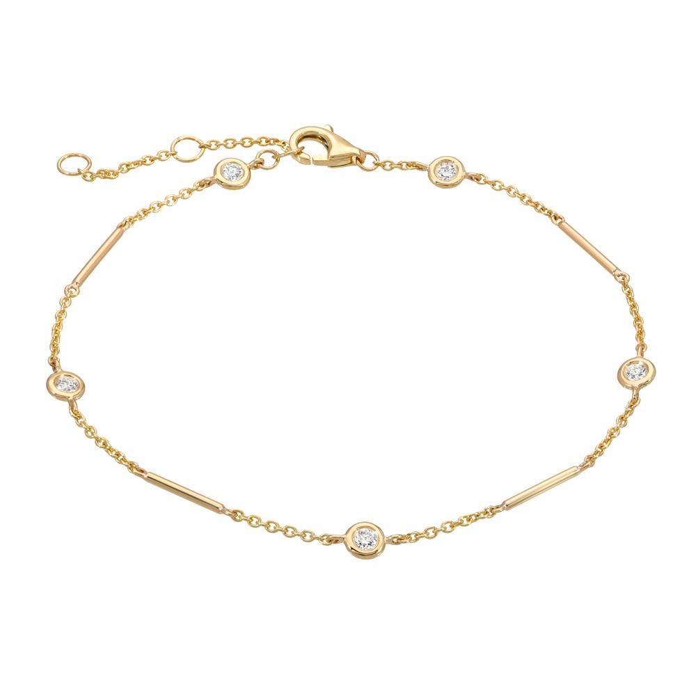 Unity Chain bracelet with station diamonds in yellow gold