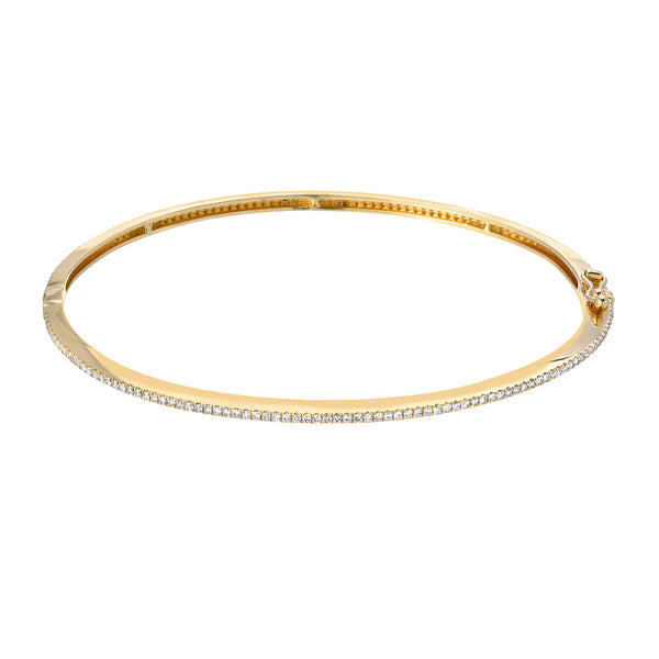 simple diamond bangle in yellow gold