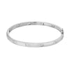 14k white gold high polish bangle with diamonds