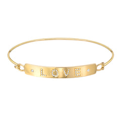 love plaque bangle in yellow gold with diamonds