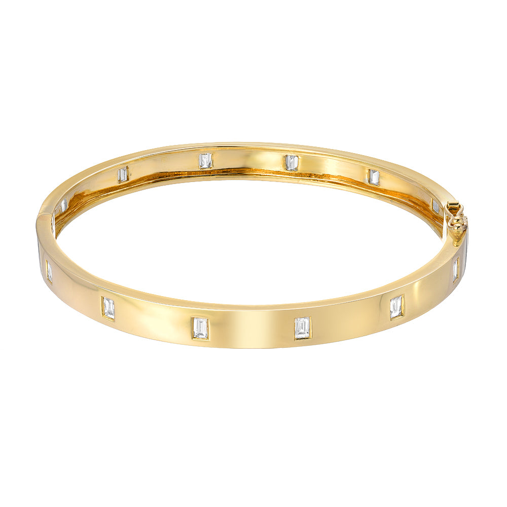baguette diamond bangle in yellow gold