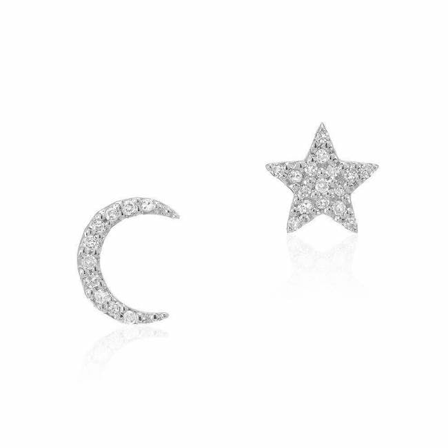 crescent moon and star post earrings in white gold