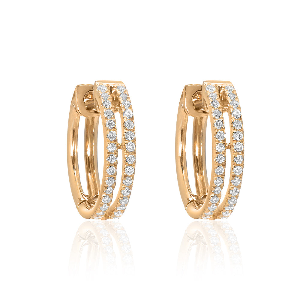 double row pave diamond huggie hoop earrings