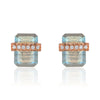 diamond wrapped flat emerald cut labradorite posts in rose gold