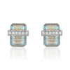 diamond wrapped flat emerald cut labradorite posts in white gold