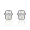 diamond wrapped flat emerald cut rainbow moonstone posts in white gold
