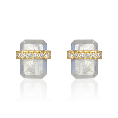 diamond wrapped flat emerald cut rainbow moonstone posts in yellow gold