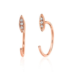 petite three quarter hoop willow earrings in rose gold