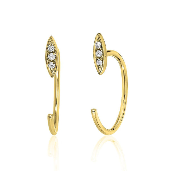 petite three quarter hoop willow earrings in yellow gold