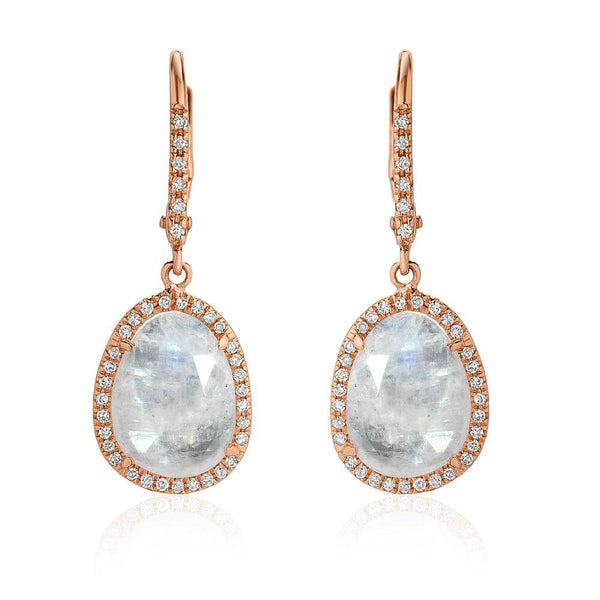 Small Organic Shape Rainbow Moonstone and Diamond Drop Earrings