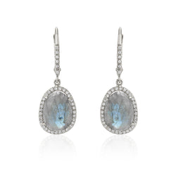 Organic shaped labradorite earrings in diamond halo