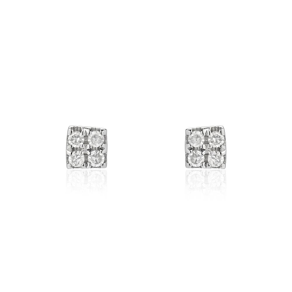 petite square pave post earrings in white gold