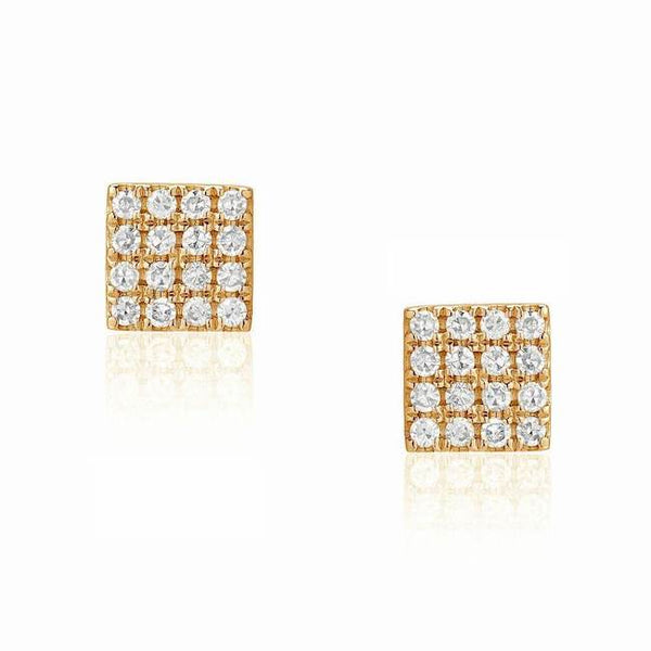 square post earrings with diamonds in yellow gold
