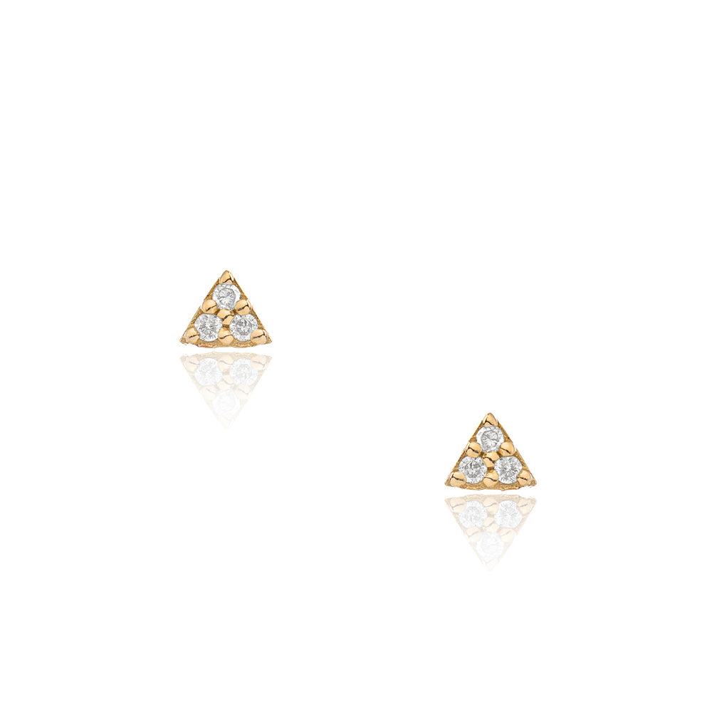 petite triangle posts in yellow gold