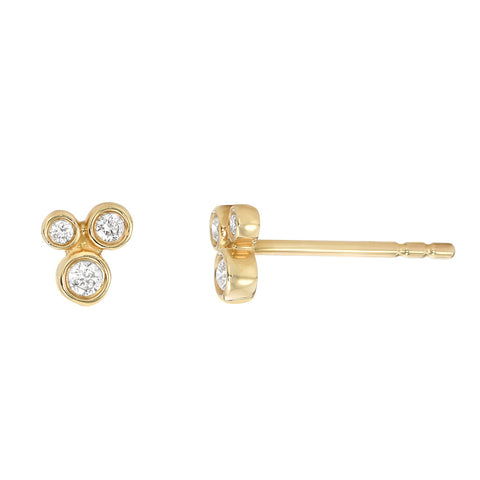 Petite Bezel Diamond Cluster Earrings