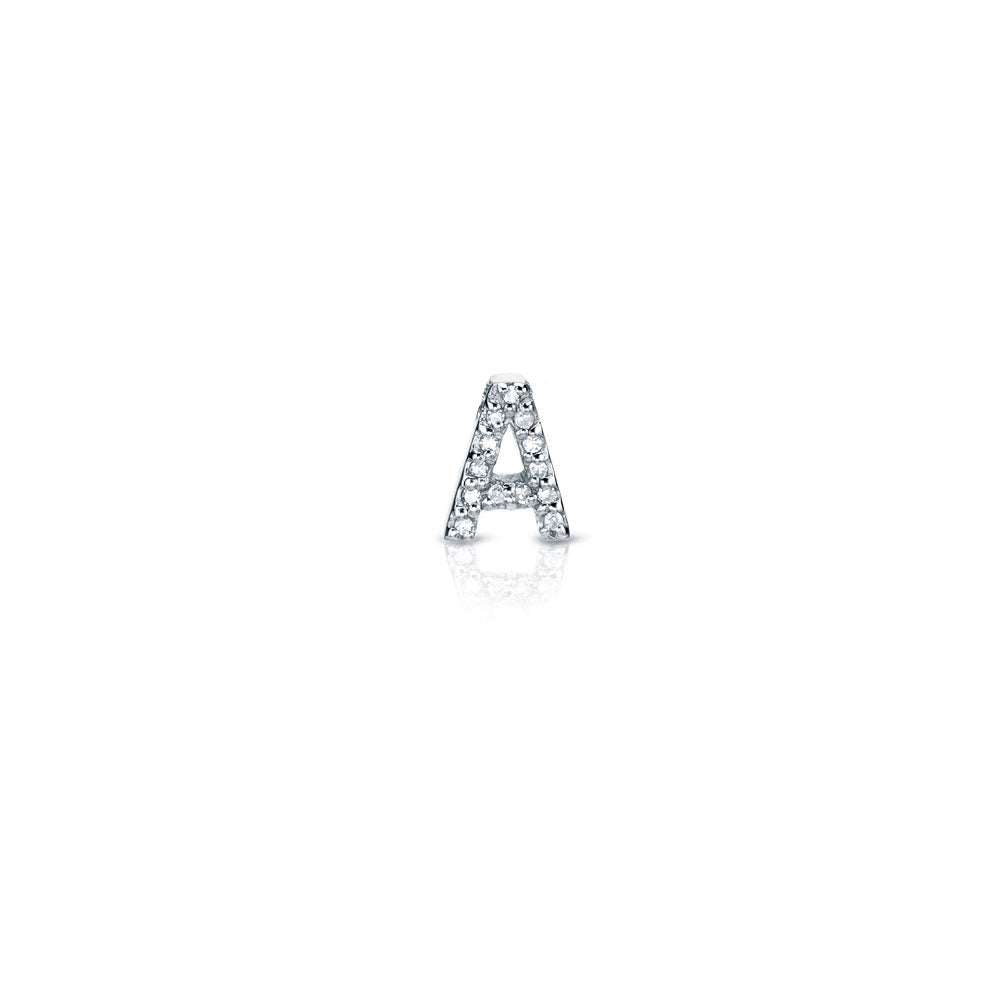 single petite initial post earring in white gold