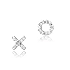 petite XO post earrings in white gold with diamonds