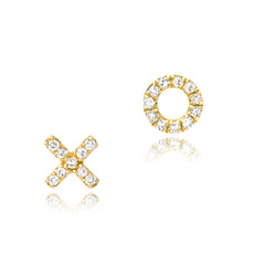 petite XO post earrings in yellow gold with diamonds