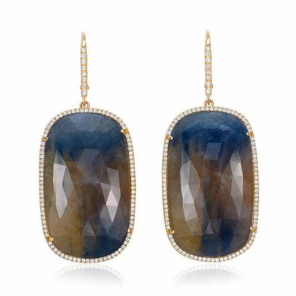 one of a kind sapphire drop earrings with diamonds in yellow gold