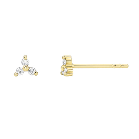 Petite Tri-Point Diamond Post Earrings
