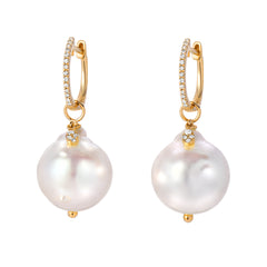 smooth pearl charms on thin diamond huggies in 14k yellow gold