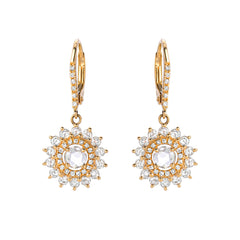 lumina rose cut double halo leverback earrings in yellow gold